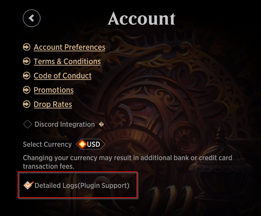 Arena Detailed Log Setting